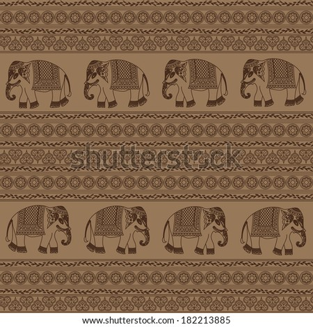Ethnic pattern with indian elephant. Seamless background - stock vector