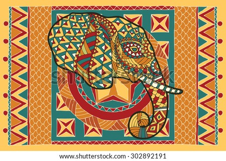 Ethnic patterned head of elephant on the grange background/ African, Indian design. Use for print, posters, t-shirts.The head of an elephant with ornament on the background of the carpet in yellow. - stock vector