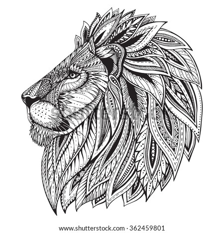 Zoo Lion Tattoos And Designs Head Vector Illustration On White