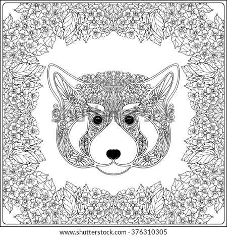 Panda frame stock photos royalty free images vectors for Red panda coloring page
