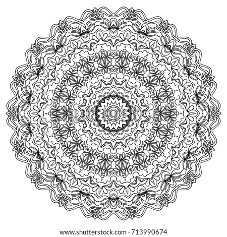 Ethnic Print Adult Coloring Page Mandala Stock Vector ...
