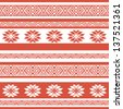 ethnic seamless background. textures in red and white colors. vector illustration - stock vector