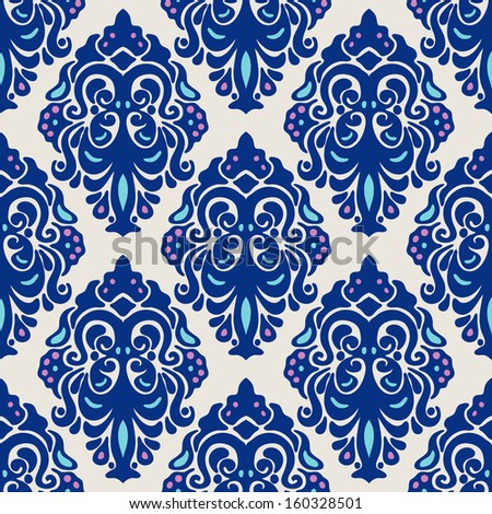 Ethnic seamless damask vector pattern - stock vector