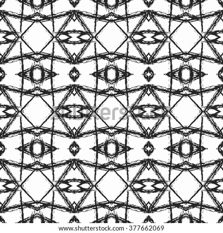 Ethnic seamless pattern. Abstract geometric black and white background with aztec ornament.