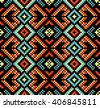 Ethnic seamless pattern, african pattern, tribal decoration, ethnic decor, unusual pattern cell in, the scheme for embroidery with beads, embroidery cross, squares, diamonds, chevrons. - stock vector