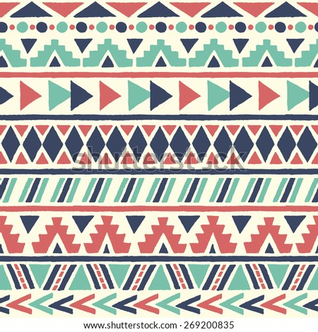 Ethnic seamless pattern. Aztec geometric background. Hand drawn navajo fabric. Modern abstract wallpaper. Vector illustration. - stock vector