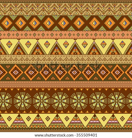 Ethnic seamless pattern. Colorful border background texture. Great choice for cloth design, wallpaper, wrapping and other pattern fills. Vector illustration
