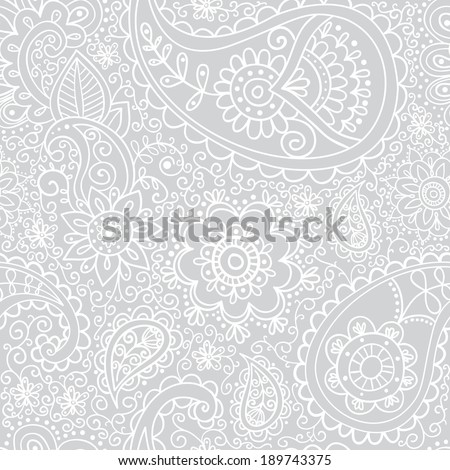 Ethnic seamless pattern. Floral pattern background with indian ornament with paisley. - stock vector