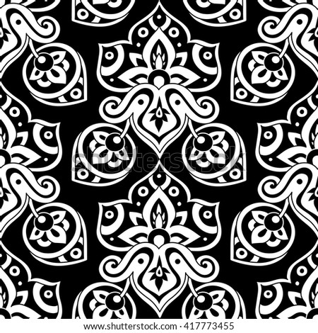 Ethnic seamless pattern in black and white colors. Boho style vector illustration. Oriental decorative elements. Abstract background.