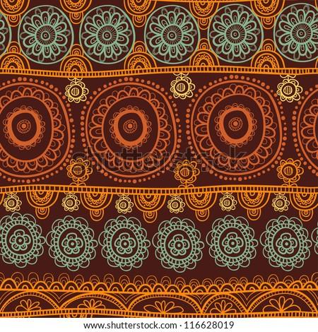 ethnic seamless pattern. Indian ornament, kaleidoscopic flora pattern, mandala. range, circle, round, disk. nice African abstract seamless pattern - stock vector