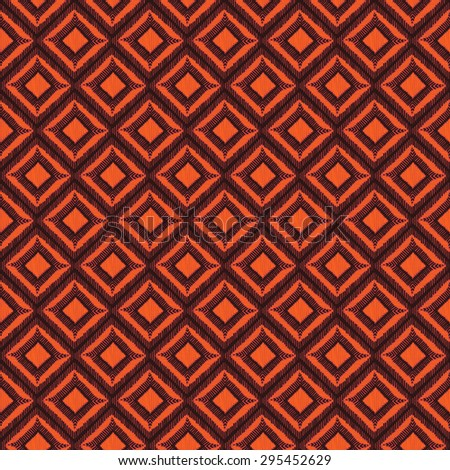 Ethnic seamless pattern. Tribal motifs. Geometric abstraction of rhombuses. Black and orange colors. Vector illustration.