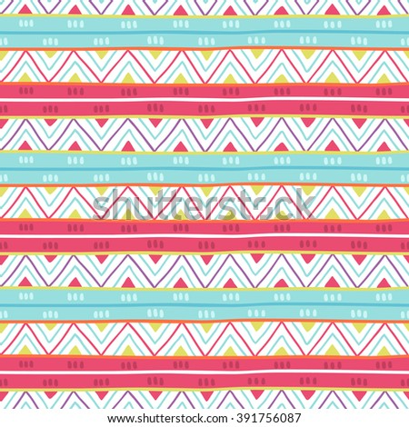Ethnic Seamless Patterns With Colorful Stripes Zig Zag And Triangles On White Background Perfect
