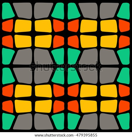 Ethnic square ornament on black background. Mosaic style. Design element for ceramic tile, paper napkin, textile.