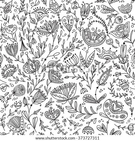 Ethnic style floral black and white seamless pattern. Can be printed and used as wrapping paper, wallpaper, textile, fabric, etc. - stock vector