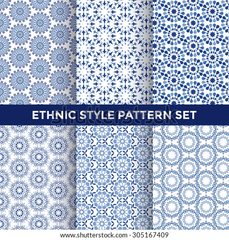 Ethnic Style Pattern Set - Collection of Six Blue Pattern Designs on White Background - stock vector