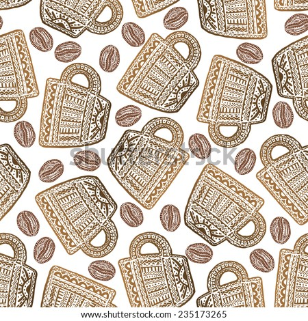 Ethnic style seamless pattern with hand drawn coffee beans and cups. Perfect for pattern fills, web page background, wallpaper  - stock vector