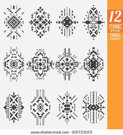 Ethnic Style Tribal Elements Set - A collection of 12 isolated geometrical ornaments - Useful as background ornaments or texture - stock vector