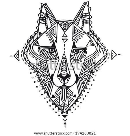 Ethnic style wolf vector drawing. Isolated outlines - stock vector