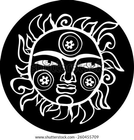 Ethnic sun totem hand drawn sketch decorative element isolated. Black and white style.  Vector tattoo illustration