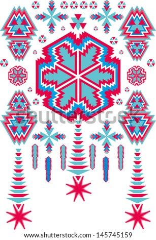 ethnic textile design vector art - stock vector