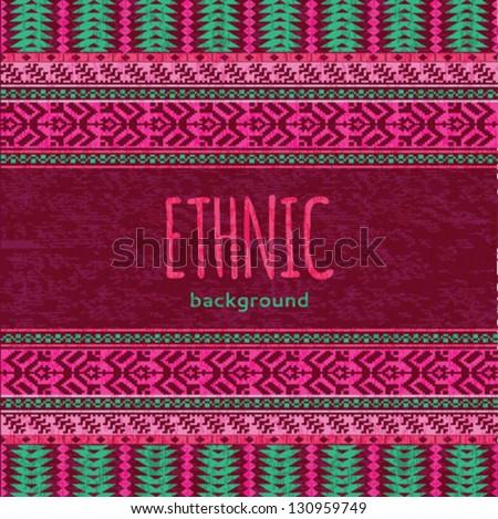 Ethnic textile seamless background - stock vector