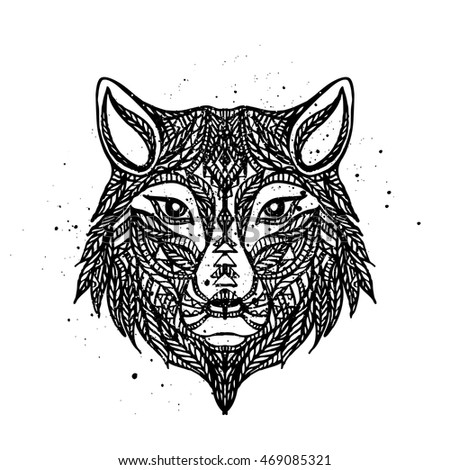 Ethnic totem of a wolf. Indian wolf. Hand Drawn vector illustration