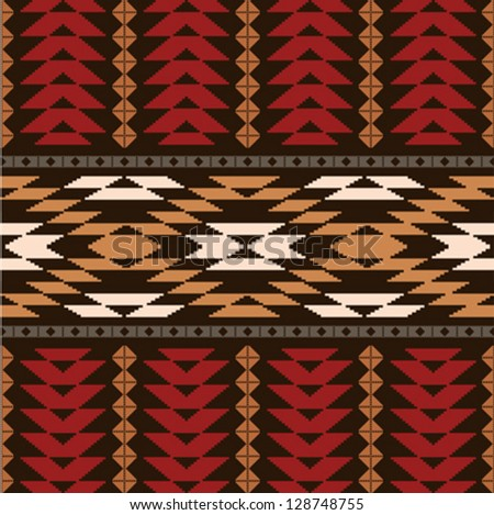 Ethnic traditional native american textile pattern - stock vector