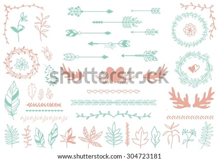 Ethnic tribal boho elements. Arrows and feathers, dividers and borders.  Elegance decoration artwork, decorative sign hipster, sketch drawing, love label. Vector illustration - stock vector