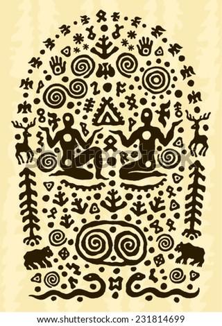 ethnic tribal native prehistoric couple symbol  - stock vector