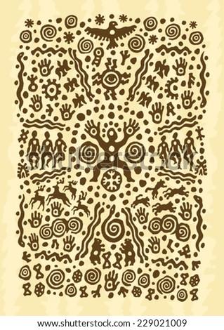 ethnic, tribal, native, prehistoric, music, dance - stock vector