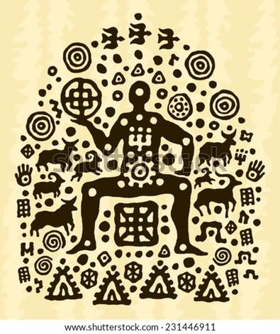 ethnic tribal native prehistoric shaman animal  - stock vector