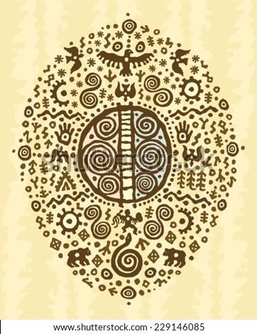 ethnic tribal native  prehistoric shaman drum symbol - stock vector