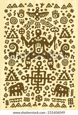 ethnic tribal native prehistoric shaman mammoth dance  - stock vector