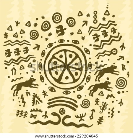 ethnic tribal native  prehistoric shaman symbol - stock vector
