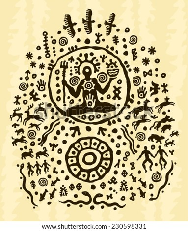 ethnic tribal native prehistoric shaman symbol  - stock vector