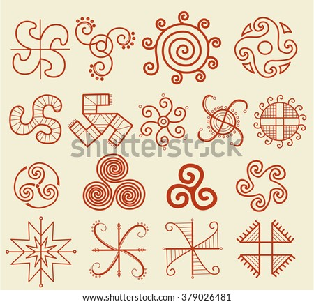 Ethnic tribal native sun symbol - stock vector