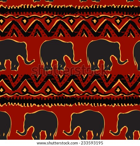Ethnic  tribal   Seamless Pattern with elephants - stock vector