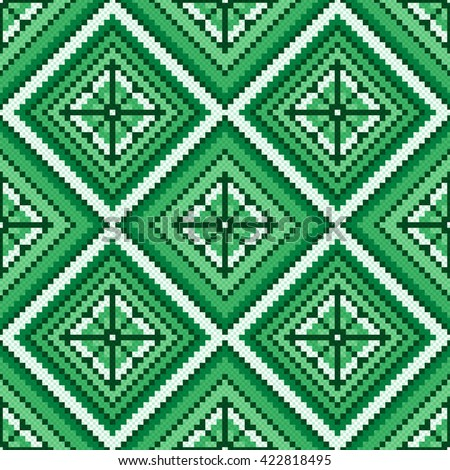 Ethnic Ukrainian multicolour geometric broidery in green hues, seamless vector pattern - stock vector