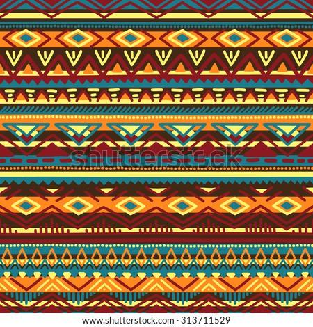 Ethnic vector illustration handmade. Tribal motives. Yellow, orange, brown, blue and burgundy colors. Striped pattern. - stock vector