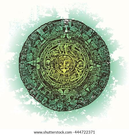 Ethnic Vector Illustration on Watercolor background. Mexico, Maya Calendar, Maya - stock vector