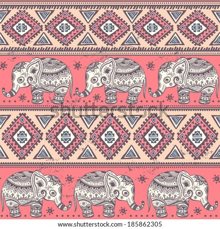 Ethnic vintage elephant seamless for you business - stock vector