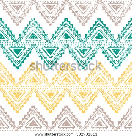 Ethnic vintage ornament. Horizontal stripes. Old background. Handmade. Gray, yellow, green zigzag on a white background. - stock vector