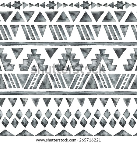 Ethnic watercolor seamless pattern. Fashion aztec geometric background. Hand drawn monochrome pattern. Modern abstract wallpaper. Vector illustration. - stock vector