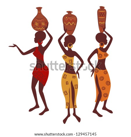 Ethnic woman with pottery. Vector illustration isolated on white background. - stock vector