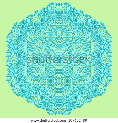 Ethnicity round ornament in blue and green colors, mosaic vector illustration - stock vector