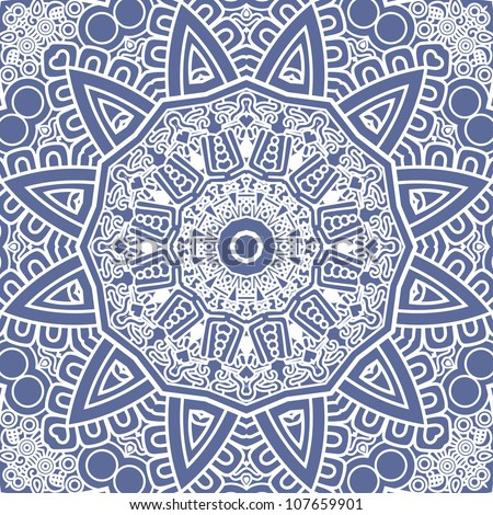 Ethnicity round ornament in blue and white colors, mosaic vector illustration - stock vector