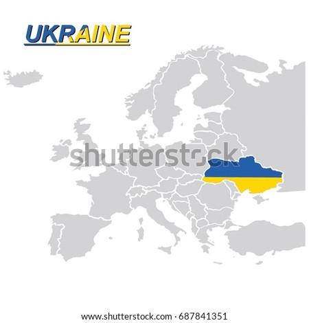 EU EUROPE MAP UKRAINE FLAG VECTOR Stock Vector 2018 687841351
