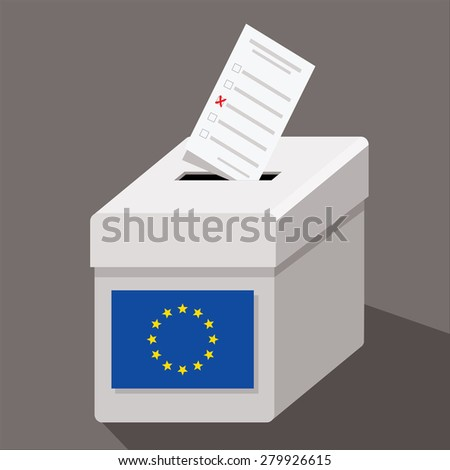EU ballot box with ballot paper - stock vector