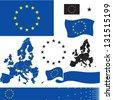 EU flag. European Union countries map. Standard colors. - stock vector