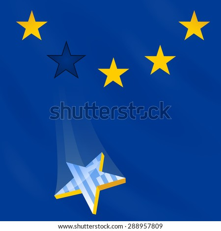 EU flag loses one star (membership of Greece). Illustration is devoted to Greece membership in EU, crisis and risk of member exit.